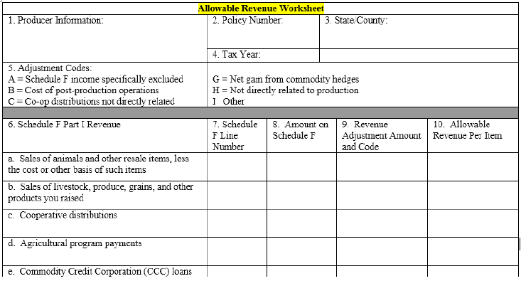 Allowable Revenue Worksheet